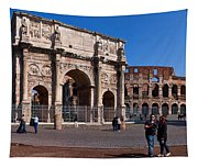 The Arch Of Constantine And Colosseum Tapestry