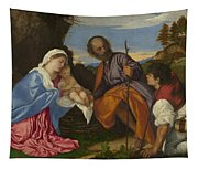 The Holy Family With A Shepherd Tapestry