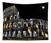 The Moon Above The Colosseum No2 Tapestry