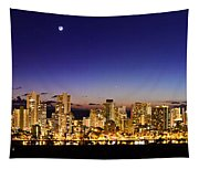 The Moon And Venus Over Honolulu Tapestry