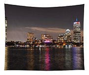The Prudential Lit Up In Red White And Blue Tapestry