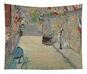 The Rue Mosnier With Flags Tapestry