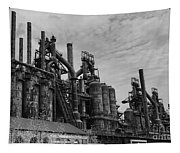 The Steel Mill In Black And White Tapestry