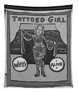 The Tattoed Girl In Black And White Tapestry