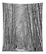 Trees Along A Road, Log Cabin Gold Tapestry