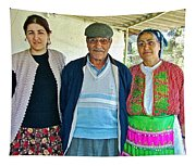 Turkish Family In Demircidere Koyu In Kozak-turkey  Tapestry
