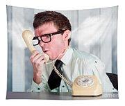 Unhappy Nerd Businessman Yelling Down Retro Phone Tapestry
