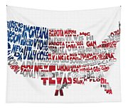 United States Typographic Map Flag Tapestry