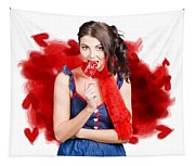 Valentines Day Woman Eating Heart Candy Tapestry