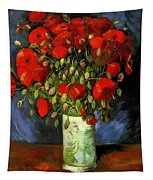 Vase With Red Poppies Tapestry