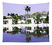View Of The Cottages And Lagoon Water In Alleppey Tapestry