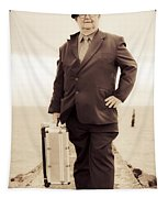 Vintage Traveling Business Man Tapestry