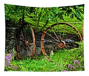 Vintage Wagon Wheel Gate Tapestry