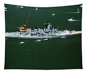 War Ship In New York Harbor, New York Tapestry
