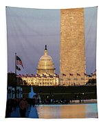 Washington D.c. - Us Flags With Cropped Tapestry