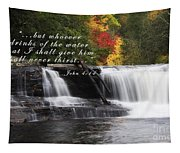 Waterfall With Scripture Tapestry
