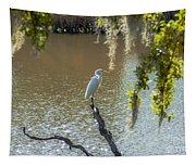 White Heron In Magnolia Cemetery Tapestry