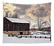 Winter Barn  Tapestry