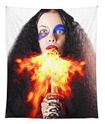 Woman Breathing Fire From Mouth Tapestry