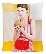 Woman Drinking Coconut Milk In Kitchen Tapestry