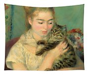 Woman With A Cat Tapestry