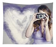 Woman With Camera. Love In A Still Frame Capture Tapestry