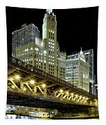 Wrigley Building At Night Tapestry