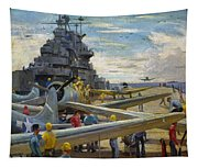 Wwii: Aircraft Carrier Tapestry