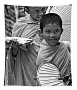 Young Monks Bw Tapestry