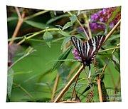Zebra Swallowtail Butterfly At Butterfly Bush Tapestry