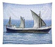 Fishing Vessel In The Arabian Sea Tapestry