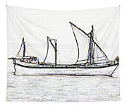 Fishing Vessel In The Arabian Sea Tapestry