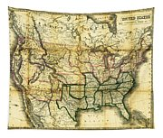 1861 United States Map Tapestry