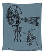 1889 Windmill On Blue Tapestry