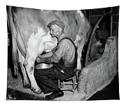 1930s 1940s Elderly Farmer In Overalls Tapestry