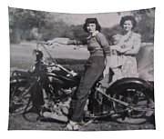 1930's Indian Motorcycle Mama Tapestry