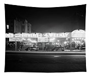 1930s New And Used Car Lot At Night Tapestry