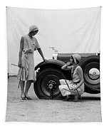 1930s Two Women Confront An Automobile Tapestry