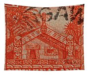 1935 Carved Maori House New Zealand Stamp Tapestry
