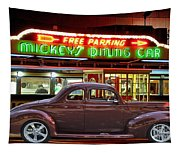 1940 Ford Deluxe Coupe At Mickeys Dinner  Tapestry