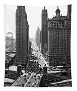 1940s Downtown Skyline Michigan Avenue Tapestry