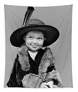 1940s Girl In Oversized Velvet Dress Tapestry