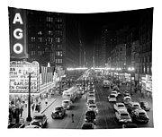 1950s 1953 Night Scene Of Chicago State Tapestry