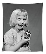 1950s 1960s Blonde Girl Licking Tapestry