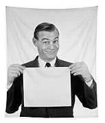 1950s 1960s Smiling Man Funny Facial Tapestry