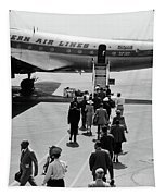 1950s Airplane Boarding Passengers Tapestry by Vintage Images