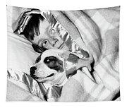 1950s Boy Hiding Under Blanket In Bed Tapestry