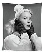 1950s Young Woman Pursing Lips Hands Tapestry