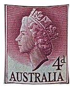 1952-1958 Australia Queen Elizabeth II Stamp Tapestry