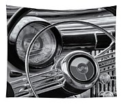 1953 Buick Super Dashboard And Steering Wheel Bw Tapestry